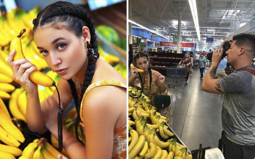 Mulher segurando bananas