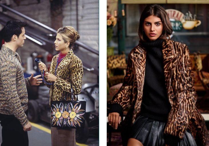 fotocomposición con la escena en que Rachel de Friends viste su saco de leopardo y el saco de la colección de Ralph Lauren