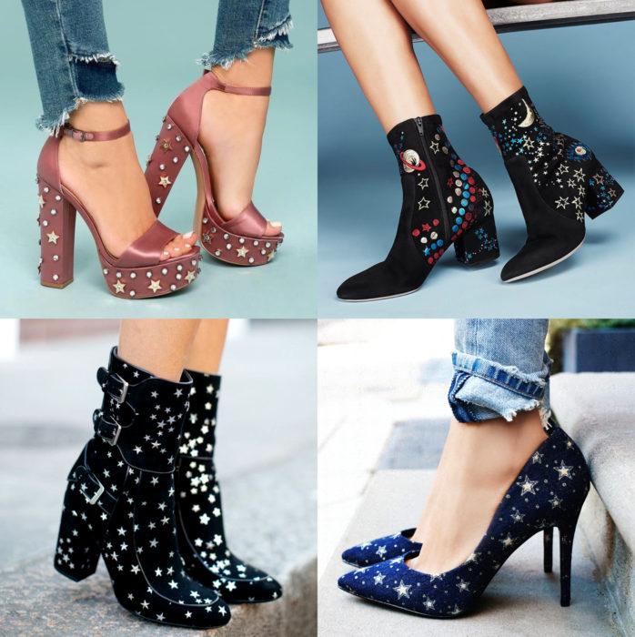 Ropa de constelaciones; zapatos de tacones con estrellas y espacio, rosas, negros y azules