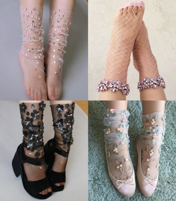 Ropa femenina de Lirika Matoshi; calcetas de gasa con pedrería y flores bordadas