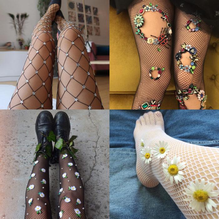 Ropa femenina de Lirika Matoshi; medias con pedrería y flores