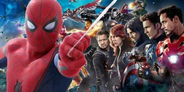 Spider-Man en primer plano con otros personajes de Marvel en segundo plano
