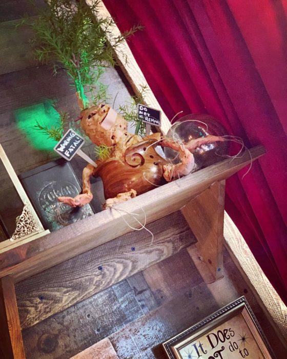 Adorno de mandragora inspirado en Harry Potter de la cafetería Steamy Hallow