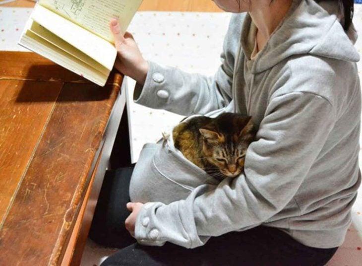 Sudadera con cangurera para gato