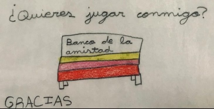 Dibujo del 'banco de la amistad' propuesto por una niña en una escuela de Burgos, España
