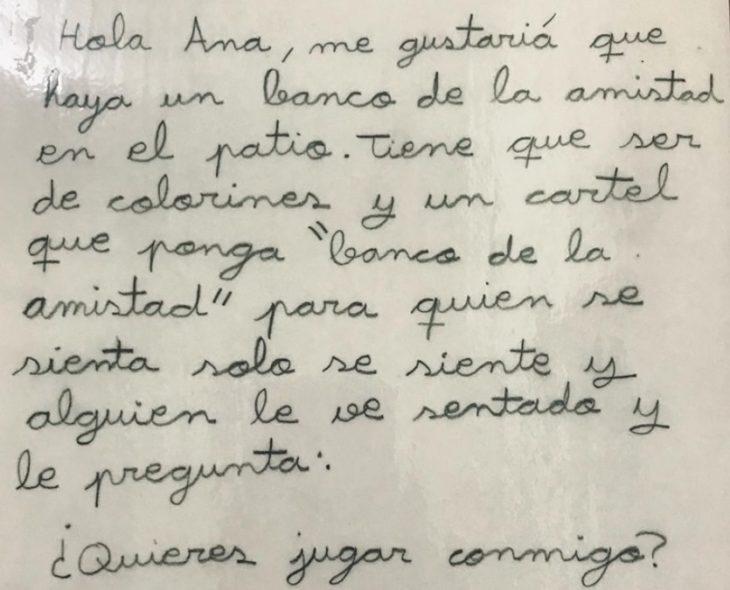 Fragmento de la carta de la niña que propuso en Burgos un 'Banco de la amistad'