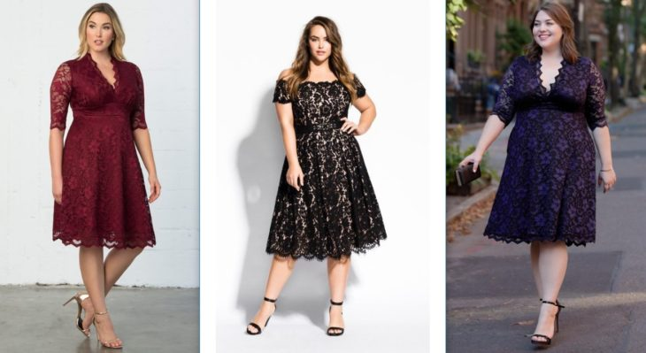 vestidos elegantes con estampado floreado para chicas curvy