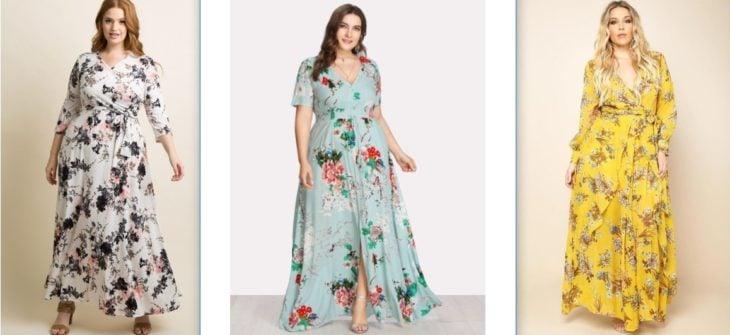 serie de tres fotos de vestidos curvy floreados sobre colores pastel
