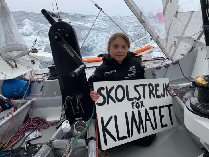 Greta Thunberg durante su travesía rumbo a Nueva York en barco