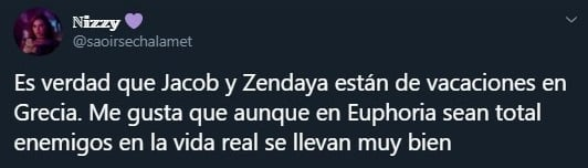 Tuit sobre Zendaya y Jacob Elordi de vacaciones por Grecia