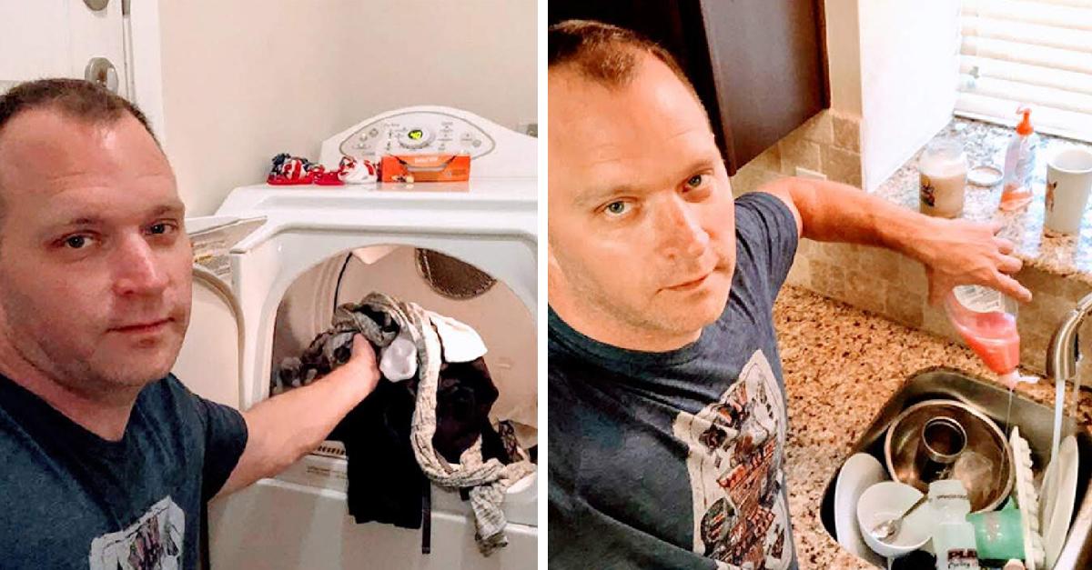 Hombre le envía 'sexis' fotos a su esposa mientras hace el aseo