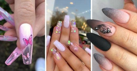 15 Diseños de uñas de mariposa que te encantarán