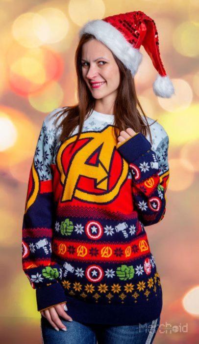Suéter feo, tejido, amarillo, rojo, azul, gris, verde, inspirado en Marvel