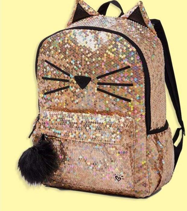 mochila de lentejuelas con cara de gatito