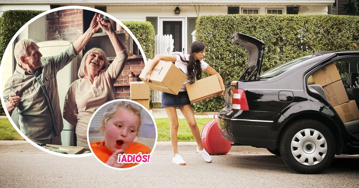 abuelos bailando y chica mudándose de casa