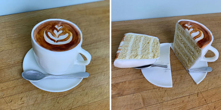 Pastel hiperrealista en forma de taza de café