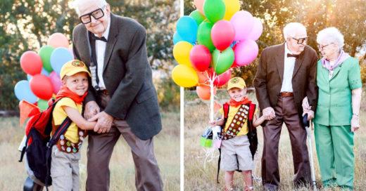 Niño y bisabuelos tienen sesión de fotos inspirada en la película 'Up'