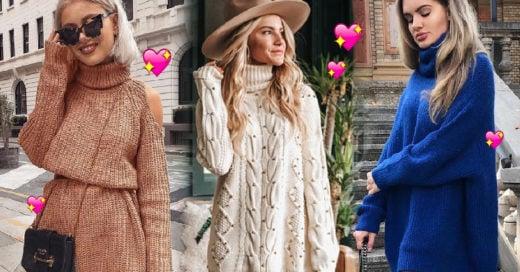 20 Maneras de usar tu suéter oversized como vestido de otoño