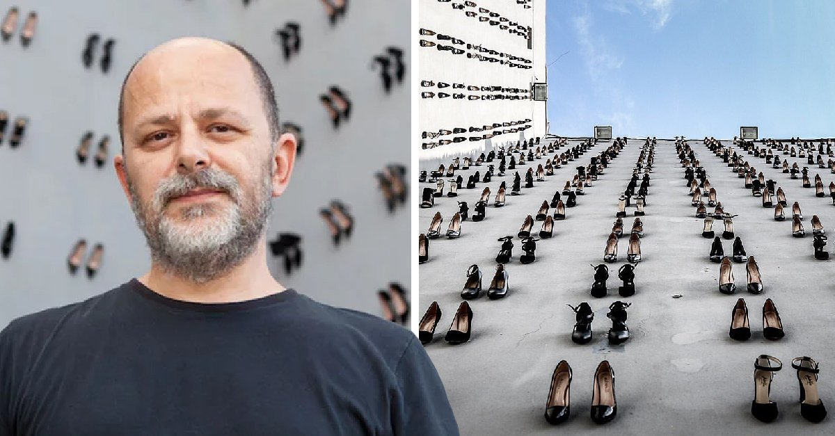 Colocan en una pared en Estambul un par de zapatillas por cada mujer asesinada por su esposo