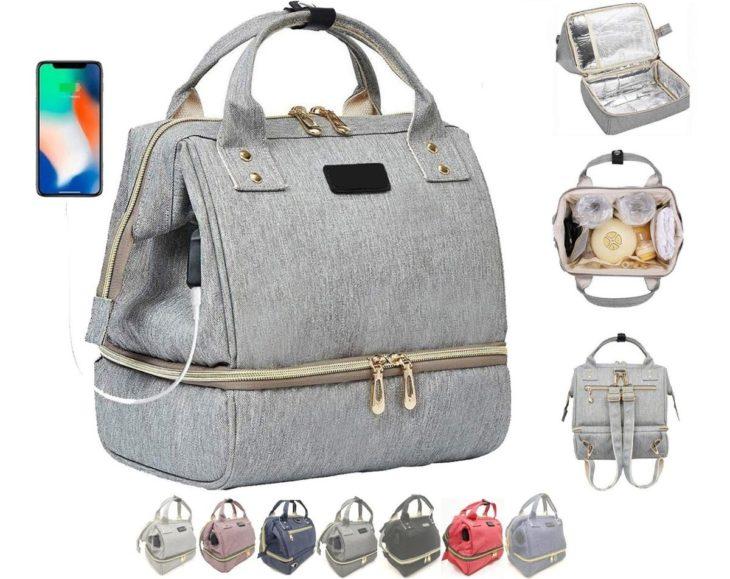 bolsa gris con cierre, se observan tomas de lo que contiene y los colores en que viene