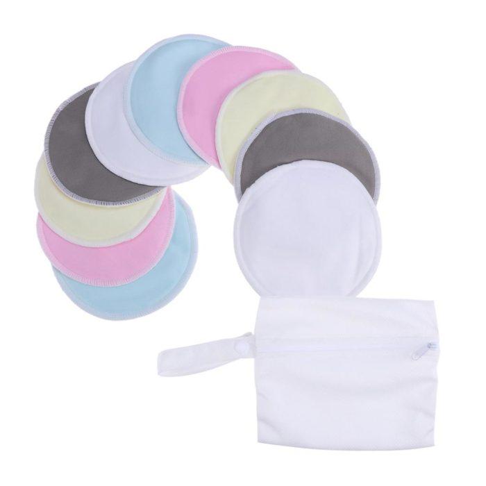 almohadillas de tela reutilizables para evitar se manche la ropa con el goteo de la leche