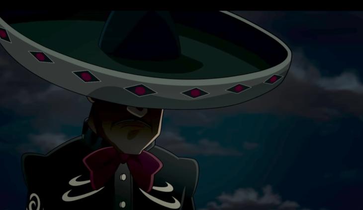 Escena de la película La leyenda del Charro Negro, el Charro Negro con la cabeza hacia abajo mirando el suelo