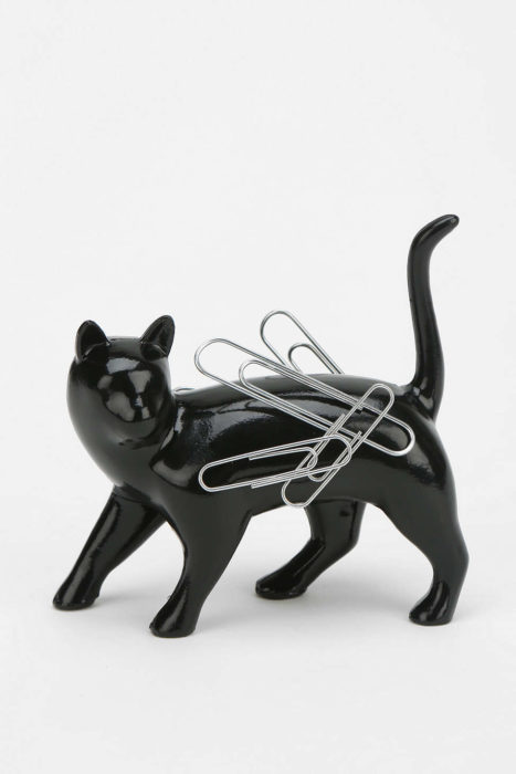 Imán para clips en forma de gato, color negro, mármol