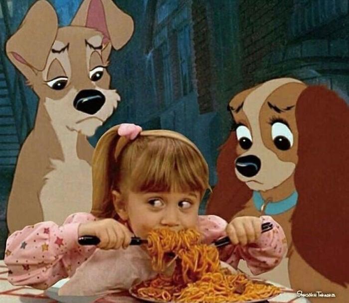Escena de la Dama y El Vagabundo con la niña de fuller house comiendo spaguetti