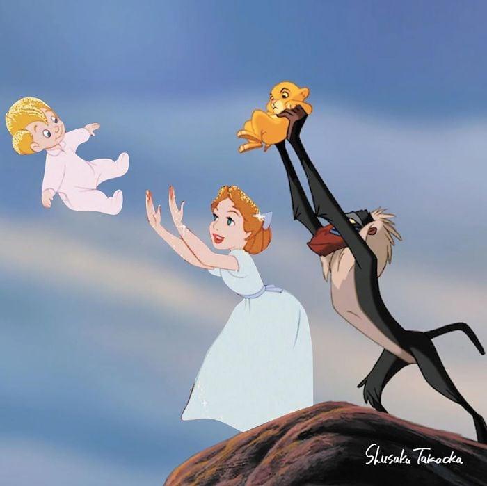Escena de peter pan niña echando a volar a un niño