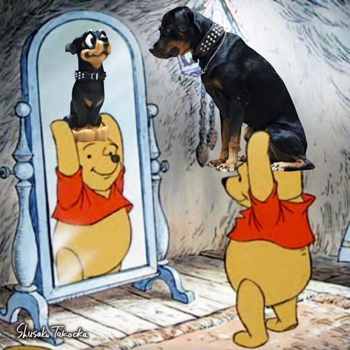 Winnie The Poo cargando a un perrito sobre sus hombros