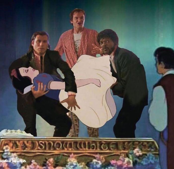 Blanca Nieves siendo cargada por los personajes de PulpFiction