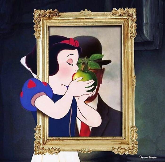 Blancanieves comiendo una manzana de un cuadro