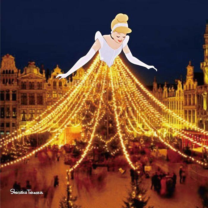 Cenicienta usando un vestido formado con luces