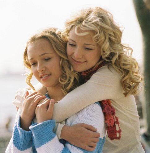 una mujer rubia abraza por atrás a una niña también rubia que tiene sus manos sobre los brazos de la mujer
