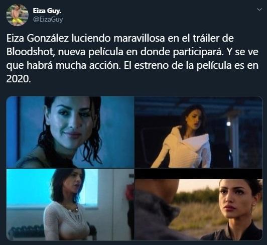Tuit sobre Eiza Gonzalez en la película Bloodshot