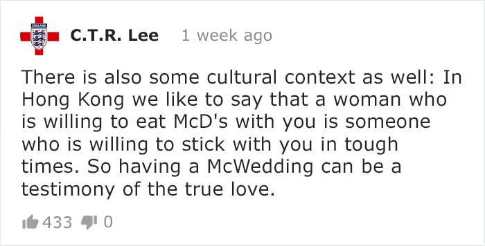 Commenti su Twitter sui matrimoni di McDonald's a Hong Kong