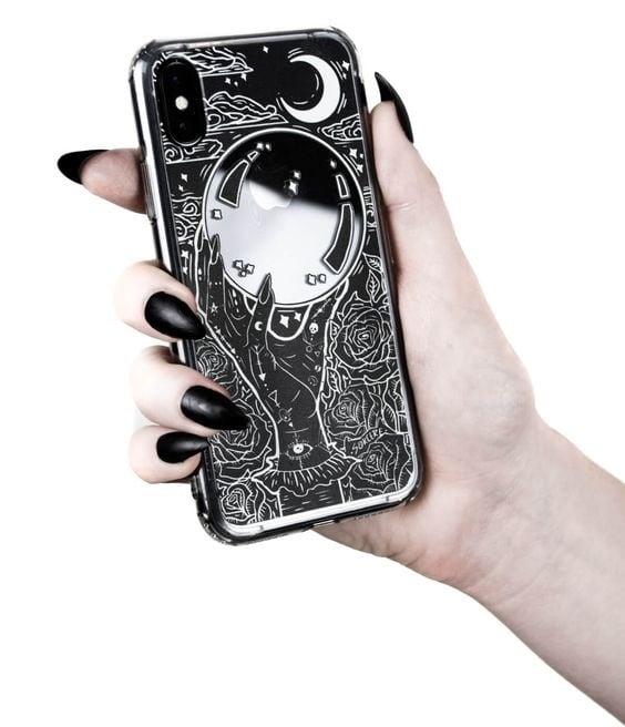 Case para celular con diseño de bola de cristal para adivinar