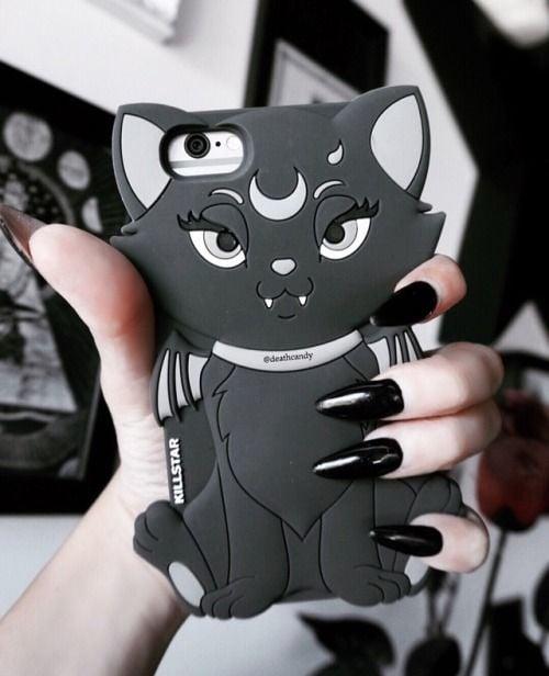 Case para celular en forma de gato negro