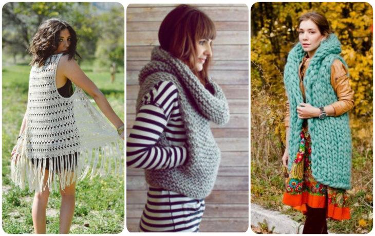 Chicas modelando chalecos abombados tejidos con estambre