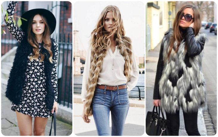 Chicas llevando chalecos largos con peluche durante el otoño