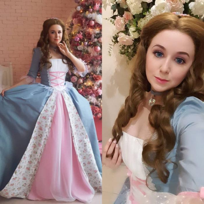 Cosplayers se disfrazan de diferentes películas de Barbie; Erika, La princesa y la plebeya