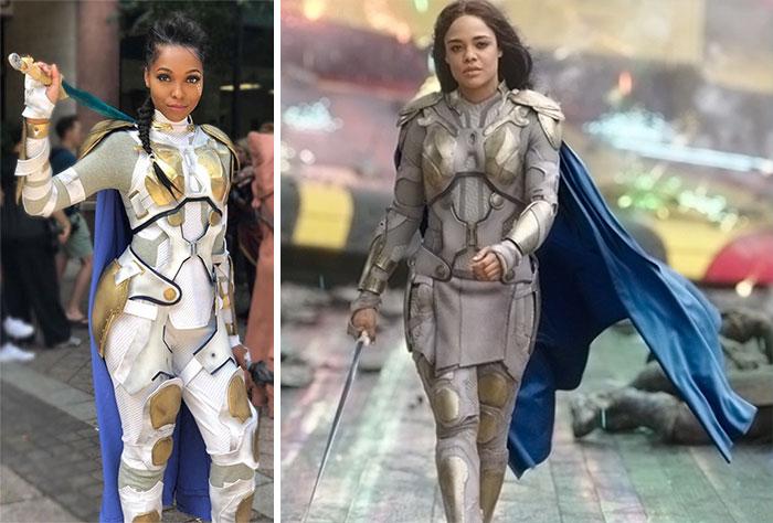 Cosplayer Jasmine James, disfrazada como Valkiria de Thor