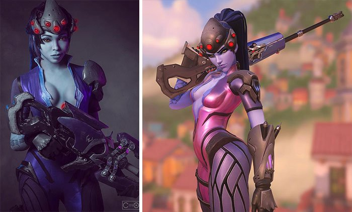 Cosplayer Jasmine James, disfrazada como Widowmaker de Overwatch