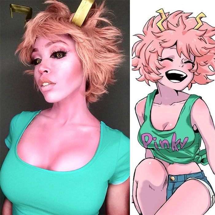 Cosplayer Jasmine James, disfrazada como Mina Ashido de My Hero Academia