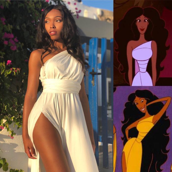 Cosplayer Jasmine James, disfrazada como una de las musas de Hércules