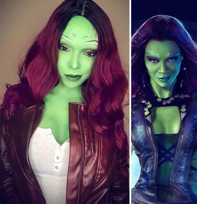 Cosplayer Jasmine James, disfrazada como Gamora de Guardianes de la Galaxia