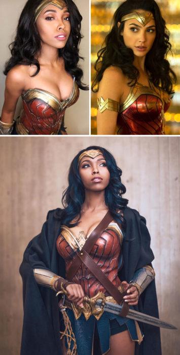 Cosplayer Jasmine James, disfrazada como la mujer Maravilla