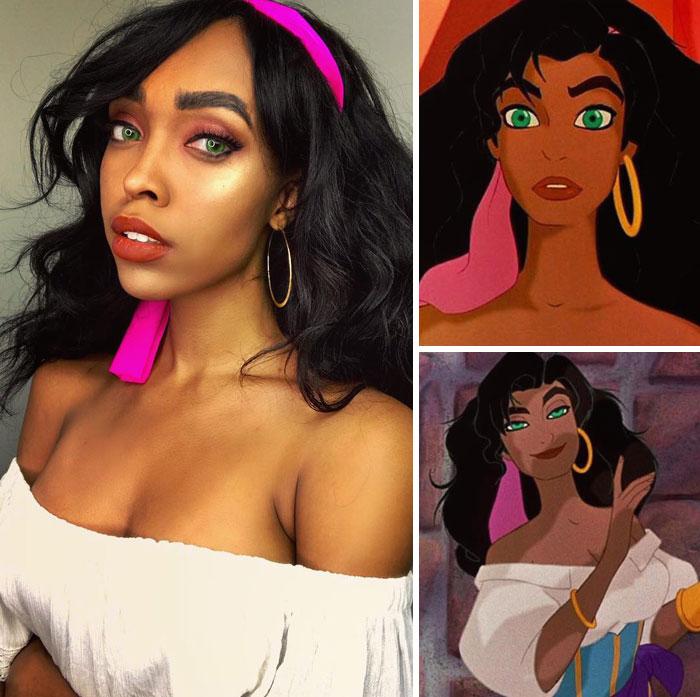 Cosplayer Jasmine James, disfrazada como Esmeralda del Jorobado de Notre Dame
