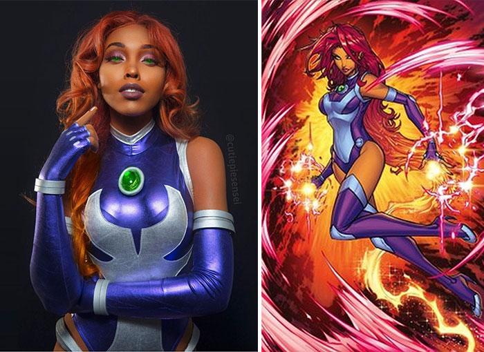 Cosplayer Jasmine James, disfrazada como Starfire de los jóvenes titanes