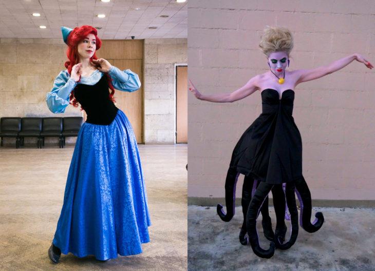 Disfraces de Halloween de los 80; chicas disfrazadas de La Sirenita con piernas y Úrsula